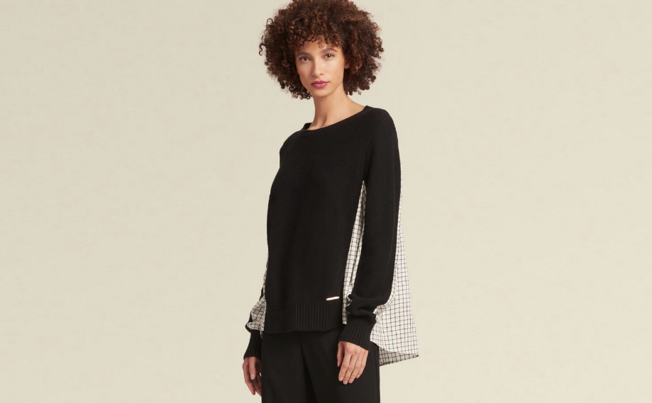 DKNY PULLOVER SWEATER WITH CONTRAST BACK