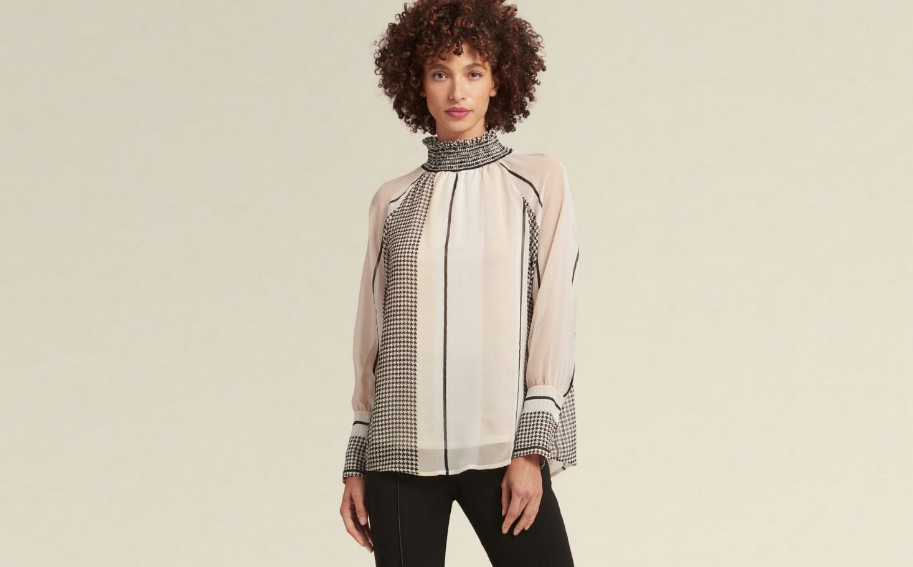 DKNY HIGH-NECK HOUNDSTOOTH TOP
