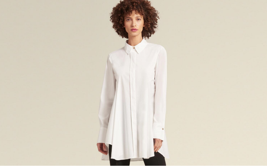 DKNY BUTTON-UP TUNIC WITH FLARED HEM