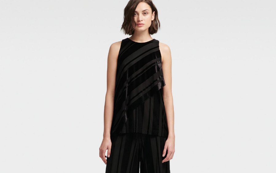DKNY Striped Velour Tank